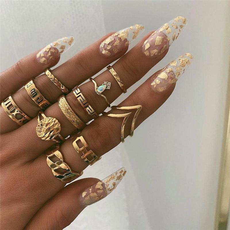 VAGZEB 11 шт./компл. Для женщин моды кольца комплект ювелирных изделий золото Цвет пустотелые геометрические опал кольцо для женщин Свадебные украшения