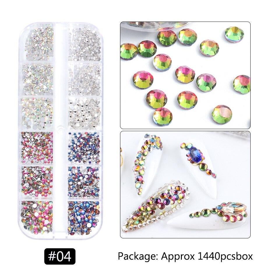 1440pcs Colorful Crystal Stones Nail Rhinestone Diamond 3D Flatback Glitter Strass Gems Nail Art Decorations Accessories 6