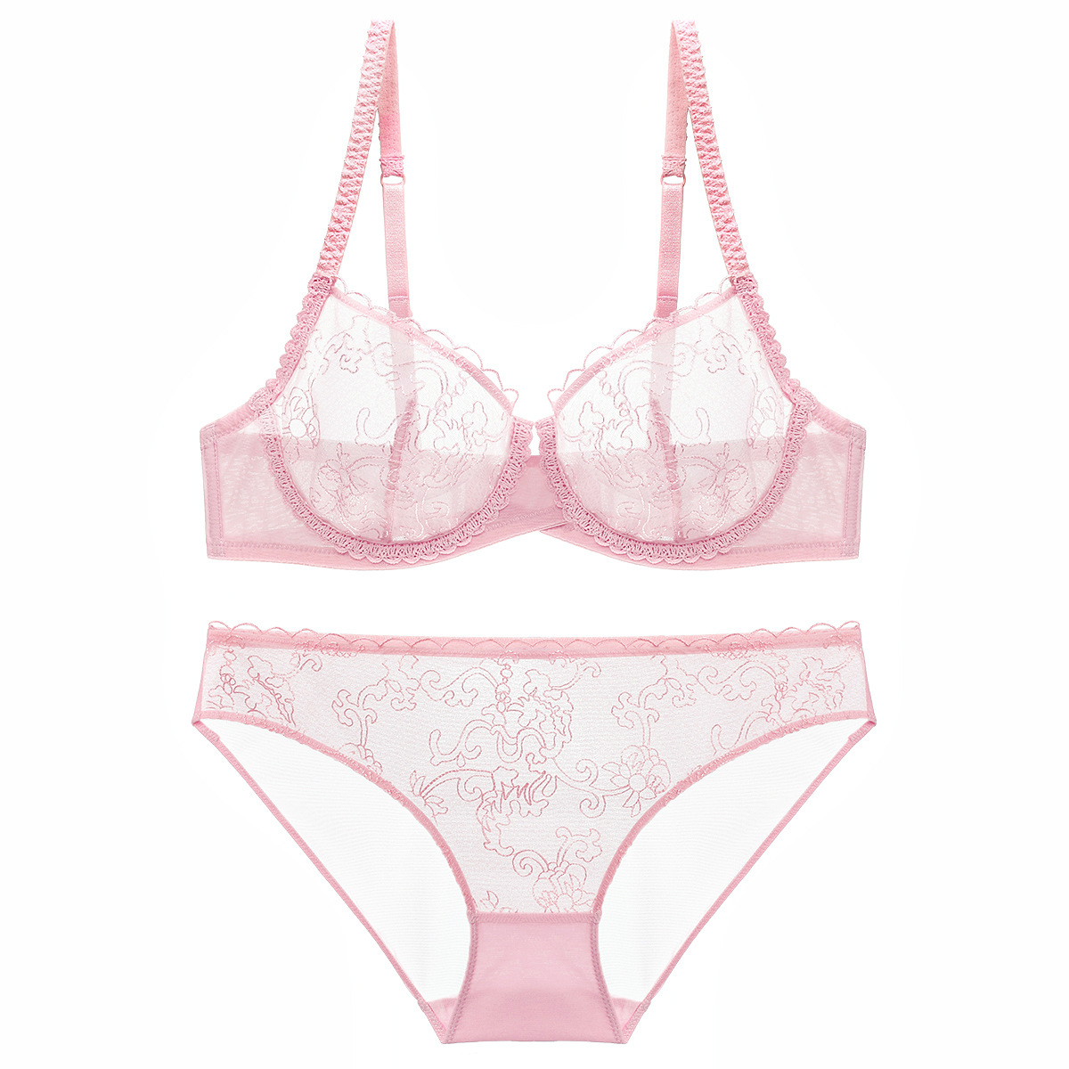 High quality embroidery ultra-thin perspective sexy bra set cute women hot fetish lingerie