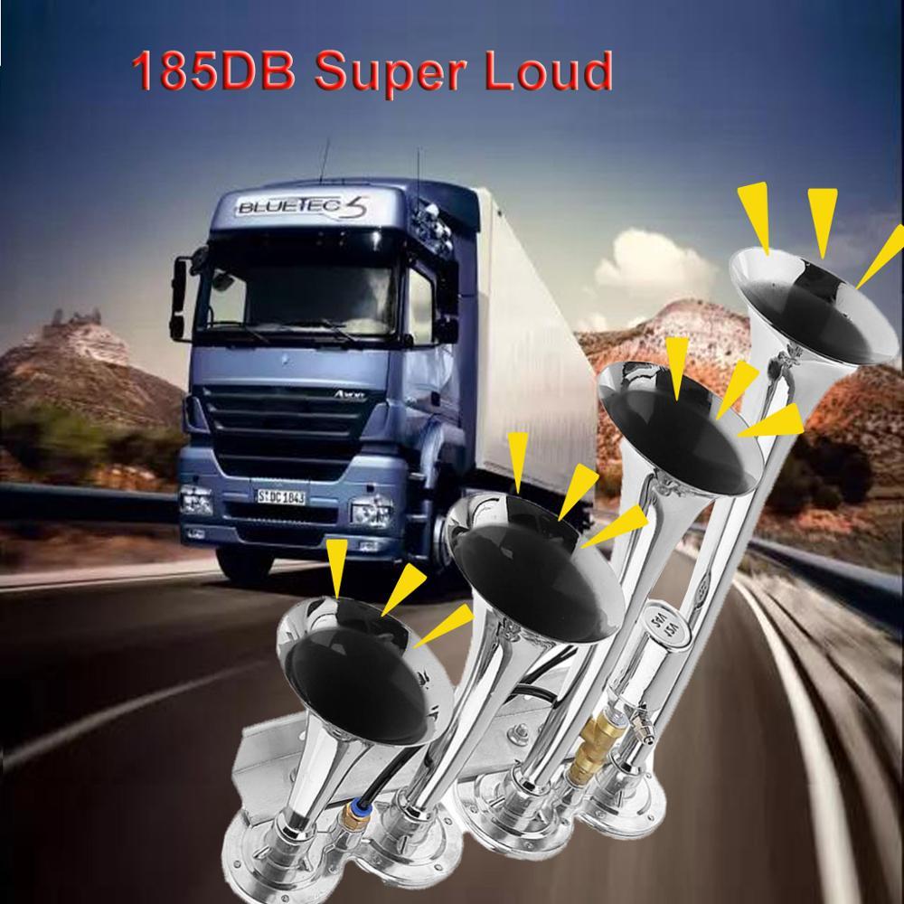 Triple Trumpet Air Horn 12 V 178dB Car Truck RV Train Boat Loud Replacement