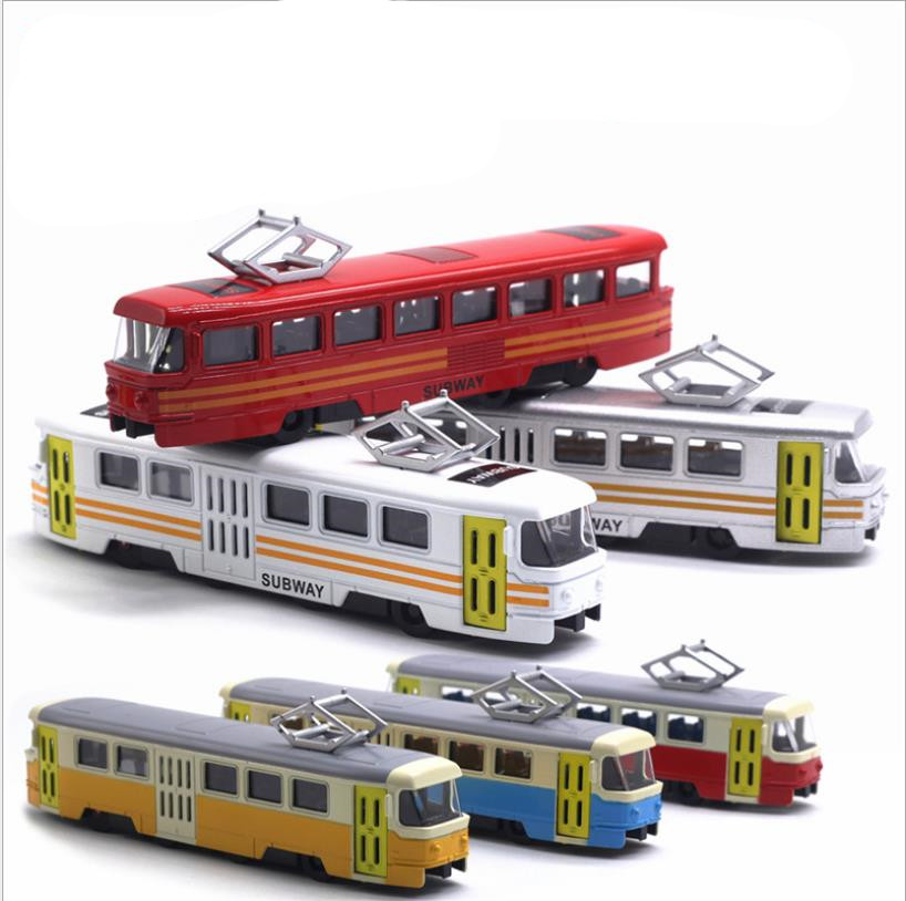 1:90 high simulation alloy tram model,simulation sound and light music,subway bus toys,original packaging new products hot sale(China)