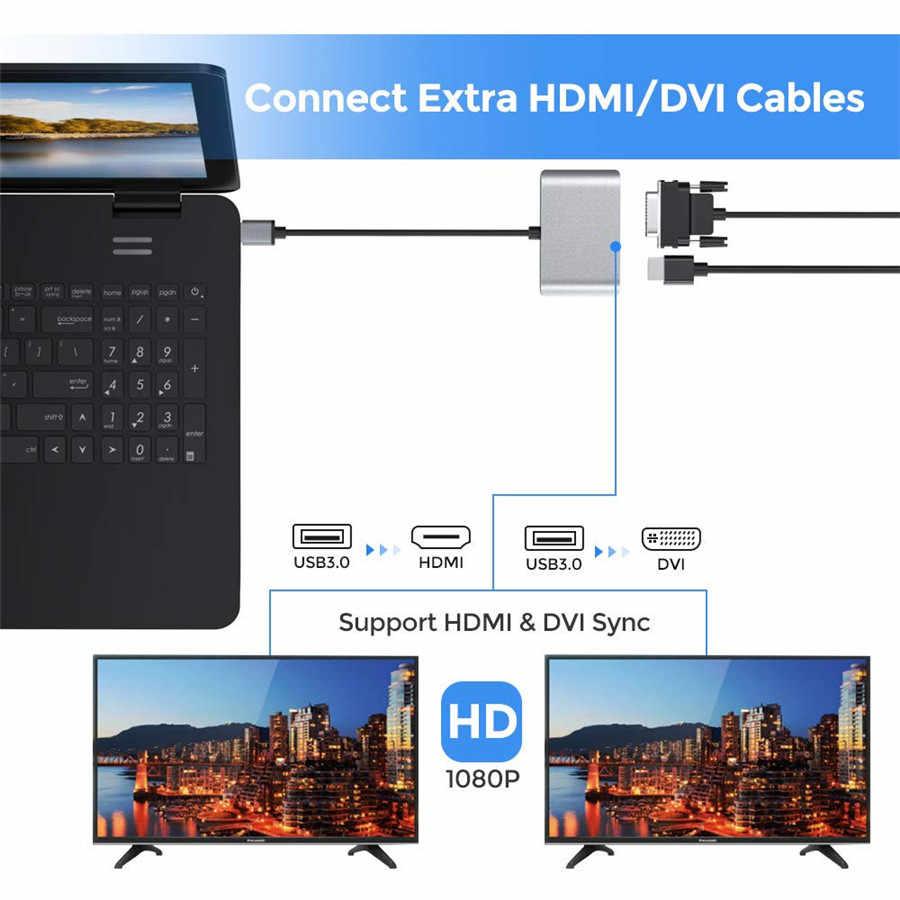 محول USB 3.0 إلى HDMI DVI منفذ عرض مزدوج USB محول دعم HDMI DVI مزامنة إخراج 1080P لمحول USB Windows 10/8/7
