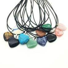 Оптовая продажа 12 шт/лот натуральные камни подвески сердце