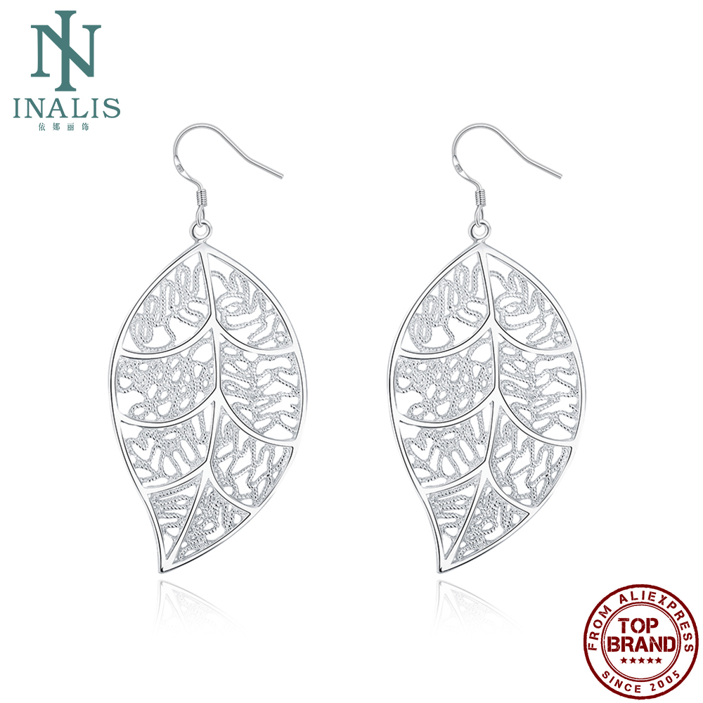INALIS Earrings For Women Fashion Leaf Design Hollow Out Drop Earrings Anniversary Jewelry Gifts Hot Selling Recommend 2021