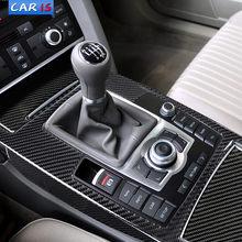 Аксессуары для интерьера автомобиля, молдинг из углеродного волокна, панель переключения передач с центральным контролем, наклейки, наклей...