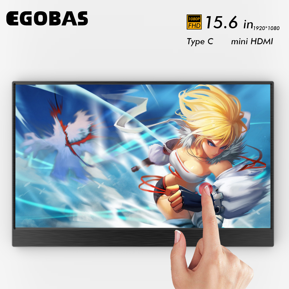 15.6 Inch Portable Monitor Touch Screen 1080P HDR IPS Gaming Monitor With Type-C Mini HDMI For Phone Laptop PC MAC Xbox PS4
