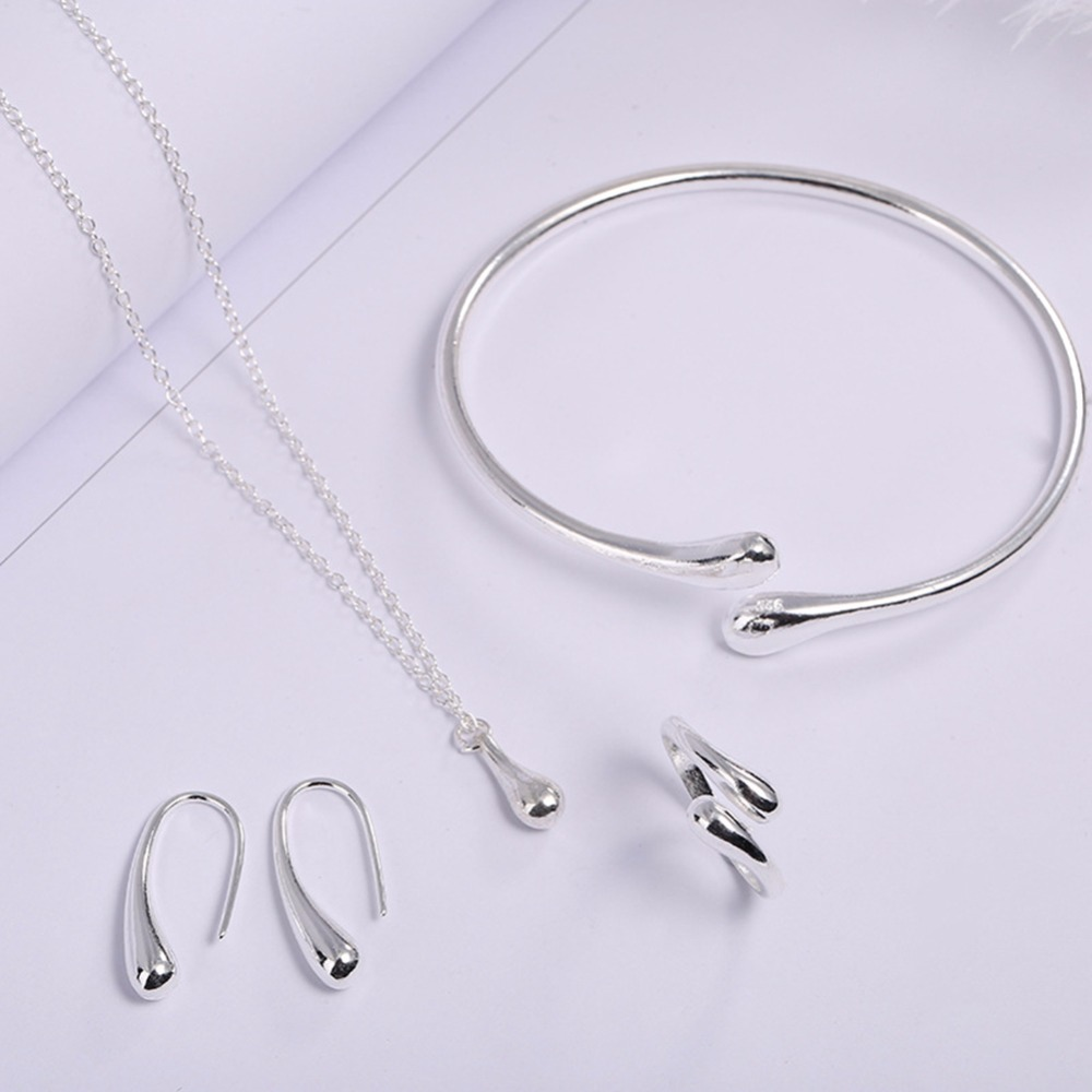 <font><b>2019</b></font> New Silver Plated Drops 925 Necklace <font><b>Set</b></font> Fashion dropped Rings Bracelet Necklaces Earrings 4 Piece <font><b>Jewelry</b></font> <font><b>Set</b></font> image