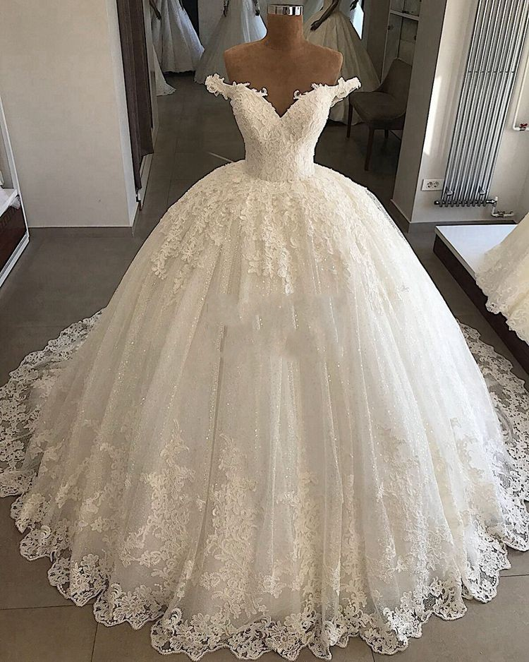 Vestidos De Novia Luxury Cap Sleeve Ball Gown Wedding Dresses 2019 BlingBling Sequins Lace Bridal Wedding Gowns Robe De Mariee