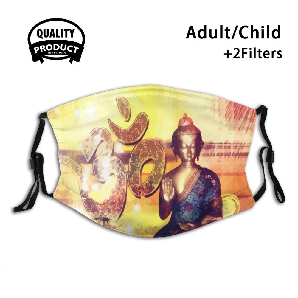 Figura de buda com sinal om reutilizável máscara de boca filtro para homens mulher crianças buda ásia ásia a atmosfera buda figura sua