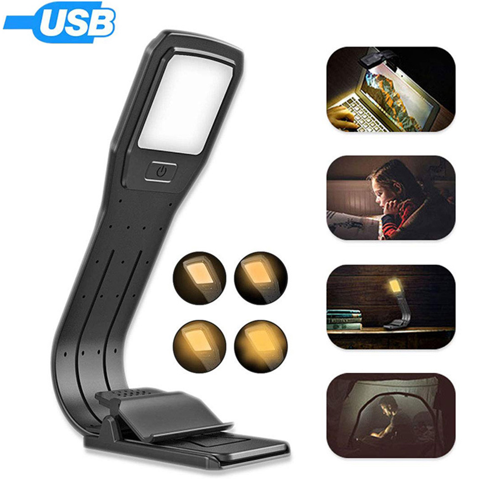 USB Rechargeable Reading Lamp LED Book Light 4-Level Brightness Eye Protection Clip Reading Light For Night Reading  _WK