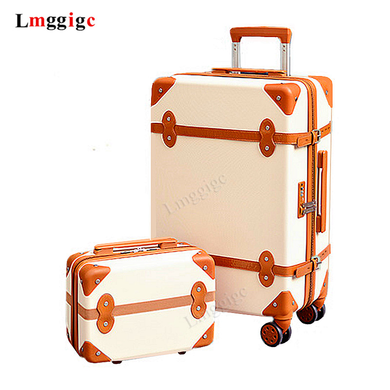 2 Piece Set Of Trolley Case,Password Lock Box,Retro Suitcase ,Universal Wheel 24