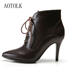 Women Boots High Heels Brand Female Winter Shoes Women Warm Boots Lace Up Thin Heels Pointed Toe Casual Shoes 2019 New Arrival genuine leather pointed toe lace up fringe women boots sapatos femininos fashion winter warm rivet high thick heels half boots