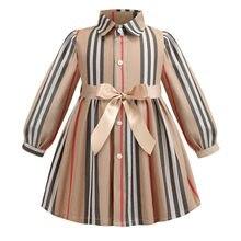 Girls Dress Long Sleeve 2021 Spring Kids Dresses for Girls Striped Bow Children Princess Dresses Toddler Girl Clothing 2-7Years