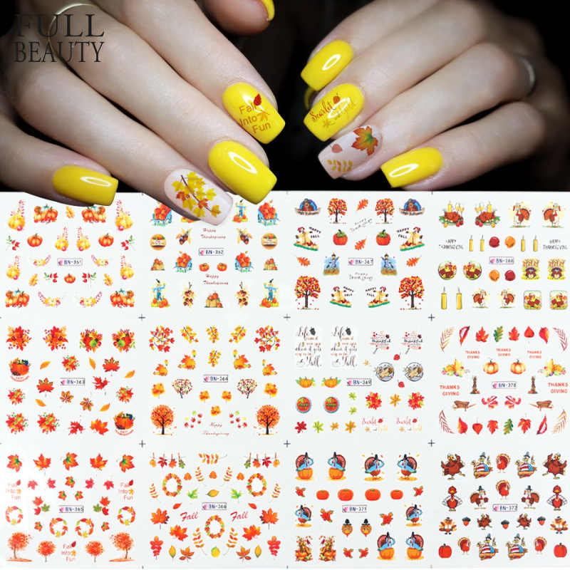 12pcs Nail Art Herfst Sticker Esdoornblad Pompoen Turkije Print Slider Decals Water Thanksgiving Manicure DIY Decor CHBN361-BN372