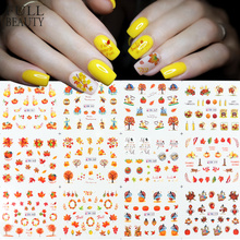 12pcs Nail Art Autumn Sticker Maple Leaf Pumpkin Turkey Print Slider Decals Water Thanksgiving Manicure DIY Decor CHBN361 BN372