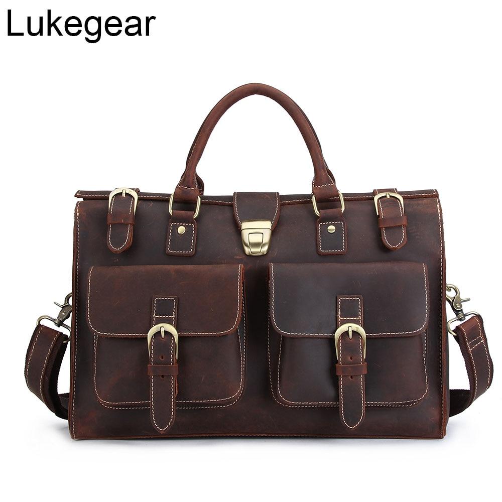 Lukegear 100% Genuine Leather Briefcase Mens Messenger Bag Retro Business Large Laptop Shoulder Bags