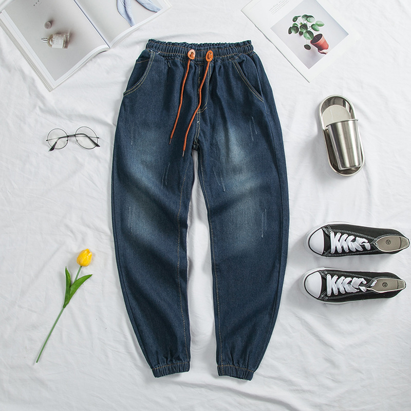 AliExpress Batches Closing Foot Jeans Men Plus-sized Elastic Elasticity Ankle Banded Pants Skinny Pants Fashion Men's Trousers