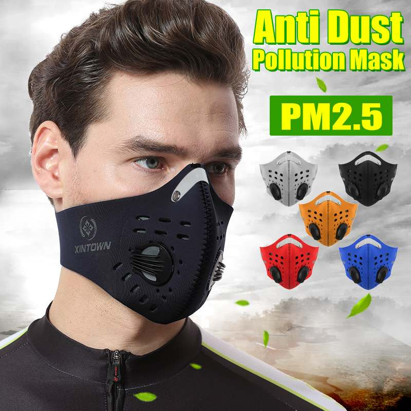 2020 Face Mask Mouth Masks Windproof Anti-spittle Activated Carbon Filter Insert Non-slip Mask Outdoor Sports Face Mask Filter
