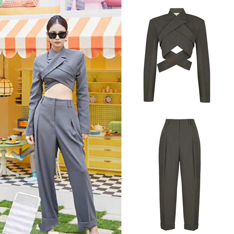 Kpop BLACKPINK JENNIE Summer Sexy Backless Long Sleeved Short T Shirts Tops+loose Casual Straight Pants Women Two Piece Outfits