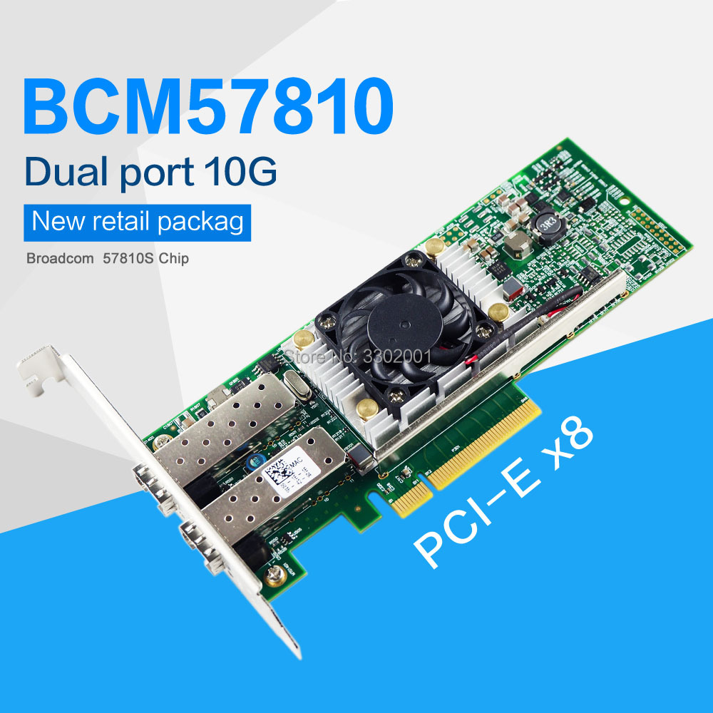 BCM57810 10GB Dual Port SFP+ PCIe x8 Ethernet Converged Network Adapter ,Similar to x520-da2(China)