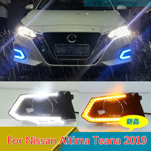 цена на 2PCS LED Daytime Running Light Waterproof Car 12V LED DRL fog Lamp with Turn Signal style Relay For Nissan Altima Teana 2019