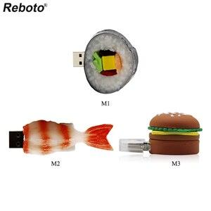 Cartoon Delicious Food Figure Japanese Sakana Sushi Memory Stick 64GB 32GB 16GB 8GB USB 2.0 Flash Drive Burger U Stick