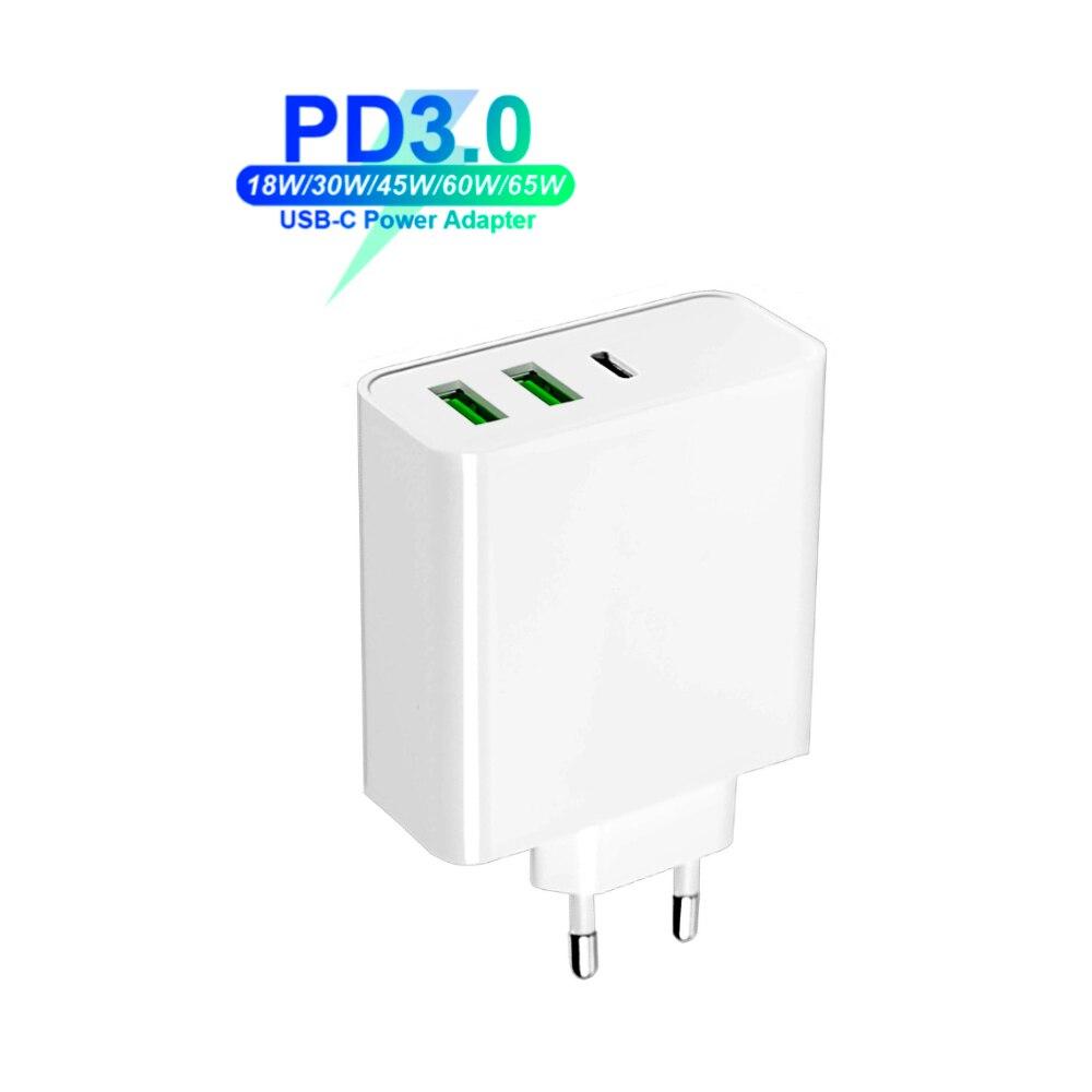 65 Вт usb type C PD быстрое настенное зарядное устройство QC3.0 адаптер для ноутбука 20 в 3.25A 45 Вт для Macbook Air Pro ASUS/DELL/hp для iPhone/samsung/Xiaomi