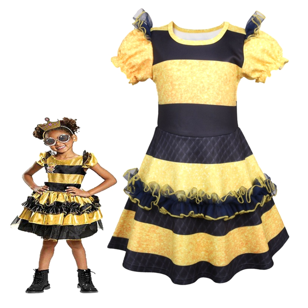 LOL Surprise! Lol Doll Queen Bee Dress Skirt Girls Toddler Deluxe Halloween Carnival Fancy Dress Costume Outfit