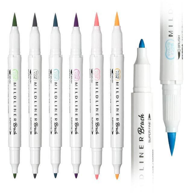 Mild Liner Double Headed Highlighter Pen Soft Brush Pen Japanese Stationery Milkliner Pen Colored Painting Drawing Marker Pens