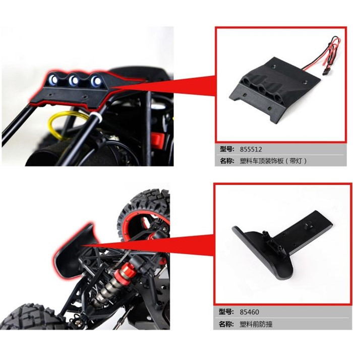 Front Bumper And Roof Guard Plate With LED Light For 1/5 Scale HPI Baja 5B