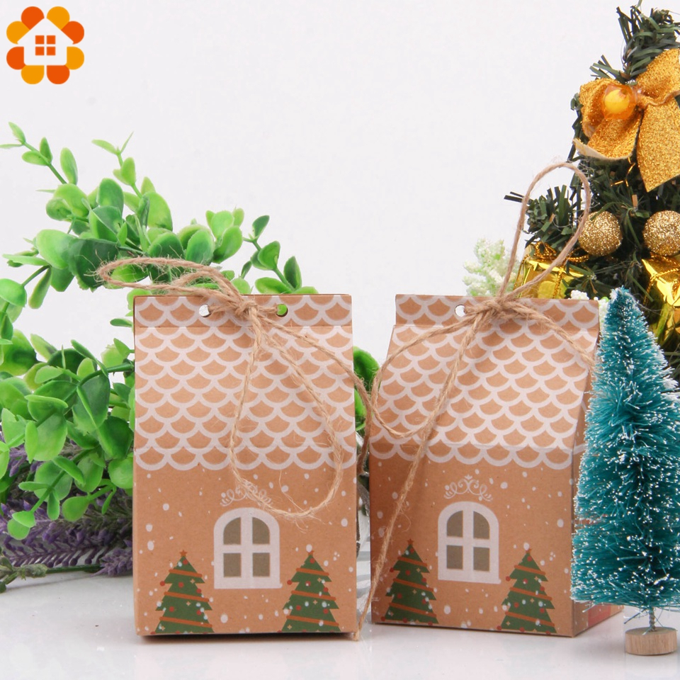 5PCS House Shape Xmas Tree Cookie Bags Christmas Candy Gift Bags With Ropes Merry Christmas Guests Packaging Boxes Party Decor