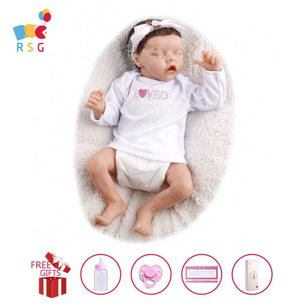 Rsg 43cm bebe reborn bebê boneca 17 polegadas silicone vinil macio de corpo inteiro realista simulação bebe boneca presente brinquedo para crianças lol