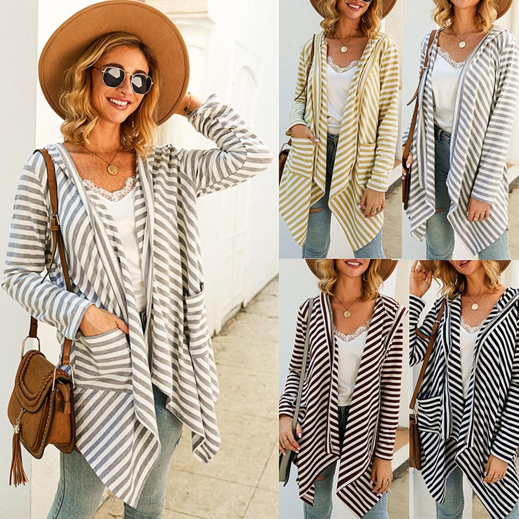 chaquetas mujer 2020 Womens Casual Stripe Knit Long Sleeves Keep Warm Coat manteau femme veste femme kurtka damska casaco