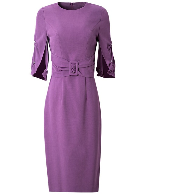 spring 2020 NEW Superior quality Work Pencil Solid dress Women Clothing autumn Party Dress plus size Vintage High waist dresses 4