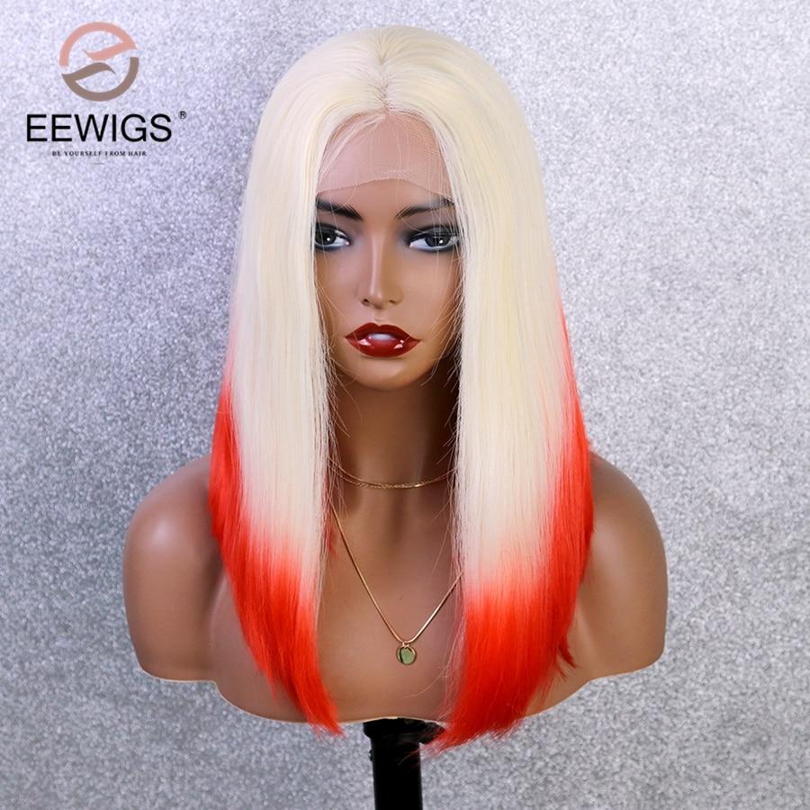 EEWIGS-Peluca de cabello sintético resistente al calor para mujeres negras, cabello corto de Cosplay, resistente al calor, color rojo degradado