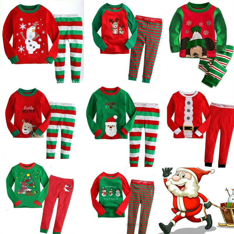 New Kids Pajamas Children Sleepwear Baby Girls Clothes Boys Cartoon Pyjamas Sets Cotton Nightwear Kids Clothing Christmas Gifts