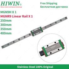 original tbi linear guideway bearings block trs25vn Free Shipping HIWIN  MGN9 stainless steel Linear Rail MGNR9 9mm linear guideway 250 300 350 400mm with MGN9H Slider Block