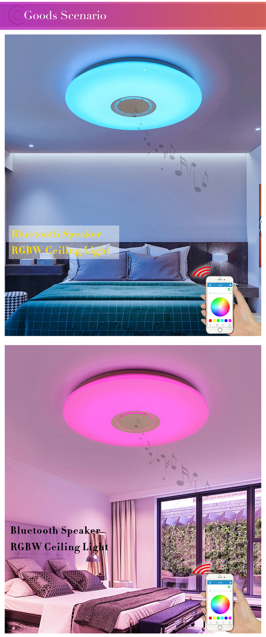 Hc8f2e9536ee545ca99464228179bb6a4S Music LED ceiling Lights RGB APP and Remote control ceiling lamp bedroom 25W 36W 52W living room light lampara de techo