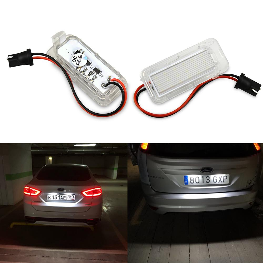 2pcs Canbus LED Number License Plate Light Lamp For Ford Focus 5D Fiesta Mondeo MK4 C-Max MK2 S-Max Kuga Galaxy 6000k White 12V