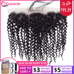 Image 1 - Gabrielle Brazilian Kinky Curly 13x4 Lace Frontal Closure Free/Middle/Three Part 8 22inch Natural Color Remy Human Hair Closure
