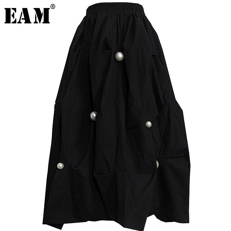 [EAM] High Elastic Waist Black Pearl Stitch Three-dimensional Half-body Skirt Women Fashion Tide New Spring Autumn 2020 1S466