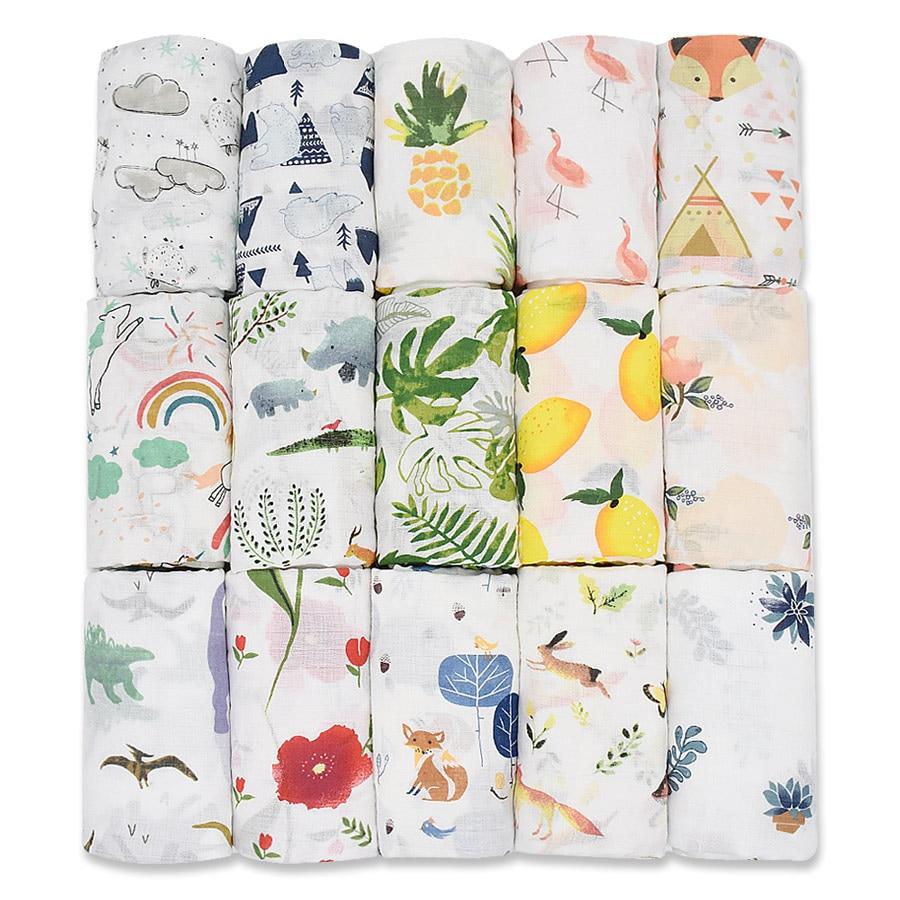 120X120CM Musselin Decke 100% Baumwolle Baby Swaddld Weiche Neugeborenen Decke Bad Handtuch Gaze Säugling Kinder Wrap Schlafsack Kinderwagen Abdeckung