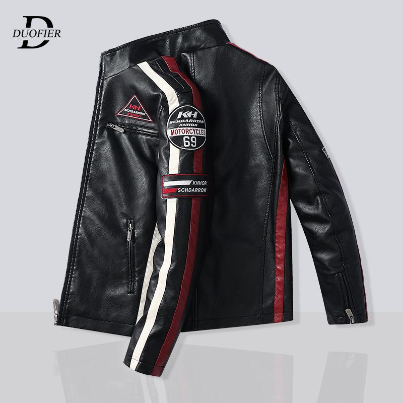 Mens Motorcycle Jacket 2021 Autumn Winter Men New PU Leather Jackets Casual Embroidery Biker Bomber Coat Zipper Fleece Overcoat