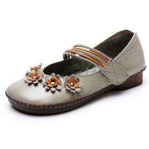 Image 3 - Texiwas Echt Leer Vrouwen Flats Schoenen 2020 Mary Janes Handgemaakte Bloem Schoenen Zachte Comfortabele Loafer Vrouwen Rijden Schoenen