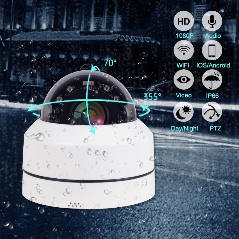 Güvenlik ve Koruma'ten Gözetim Kameraları'de 1080P IP kamera kablosuz ev güvenlik kamerası gözetim kamera açık Wifi gece görüş CCTV IP kamera PTZ 4X Zoom title=