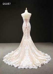 Image 5 - Champagne Lace Simple Wedding Dresses 2020 Sleeveless Mermaid Bridal Gowns