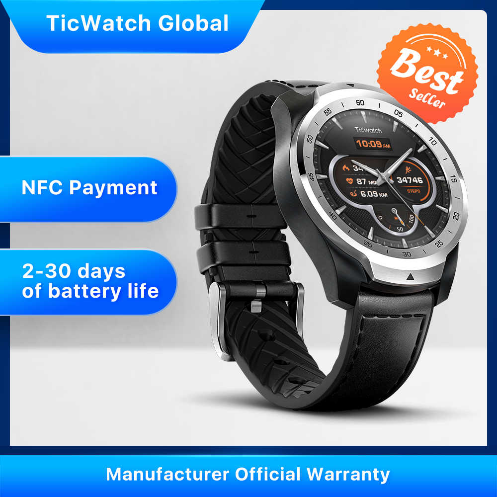 TicWatch Pro Versi Global Smart Watch Android Wear untuk IOS & Android Pembayaran NFC GPS Tahan Air IP 68 bluetooth Smartwatch
