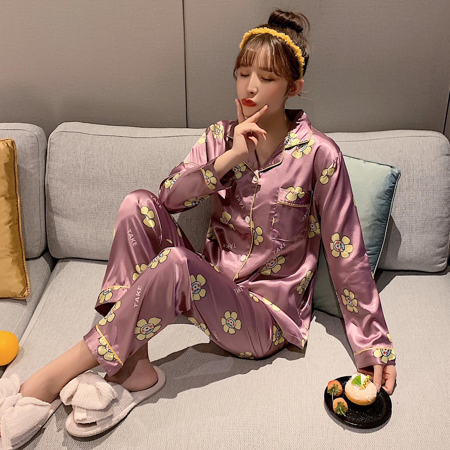 New Fashionable Female Pajama Sets For Women Spring Summer 2 Pcs Long Sleeve&Pangts Loose Comfortable Home Suits