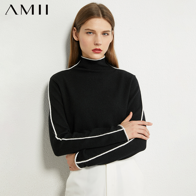 AMII Minimalism Autumn Winter Sweater For Women Causal Spliced Slim Fit Women's Turtleneck Sweaters Sweaters For Female 12040303