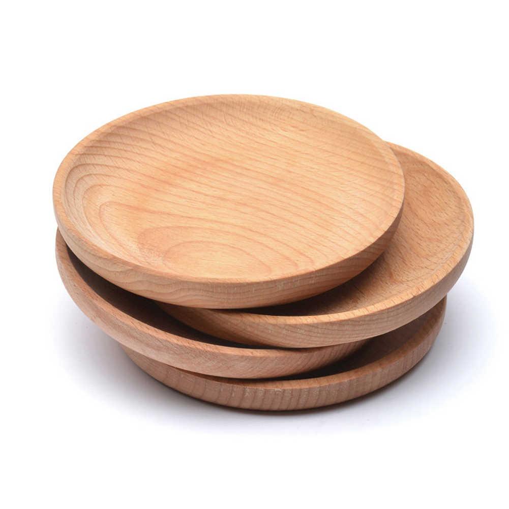 Ramah Lingkungan Piring Makanan Ringan Kayu Bulat Kue Hidangan Rumah/Hotel/Sekolah Makanan Penutup Layanan Tray Kayu Sushi Papan Peralatan Makan Pesta